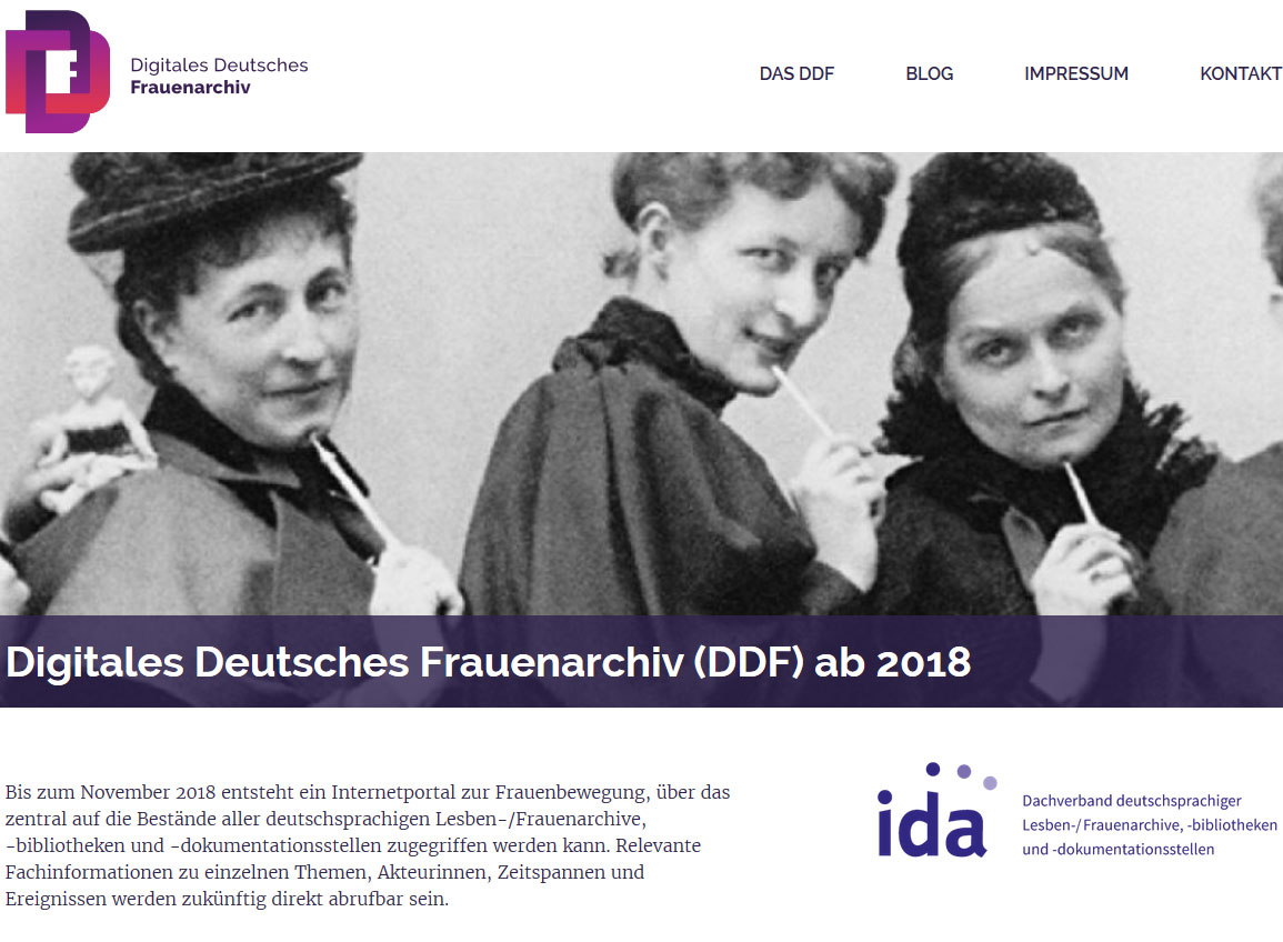 Screenshot der DDF-Homepage