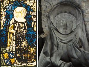 Mechthild von der Pfalz als Glasbild auf der linken Hälfte des Bildes, rechts ein Detail von Mechthild von der Pfalz vom Grab