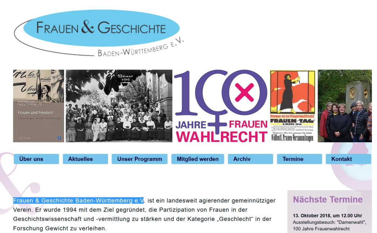 Neue Homepage von Frauen & Geschichte Baden-Württemberg e.V.
