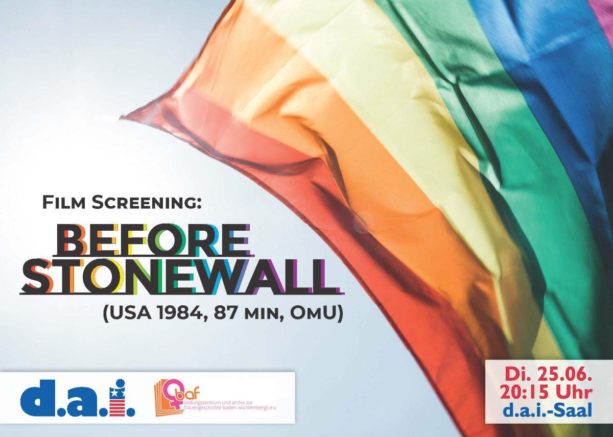 """Vielfach ausgezeichneter Dokumentarfilm """"Before Stonewall"""" am Dienstag, den 25.6.2019 um 20:15 Uhr im d.a.i."""