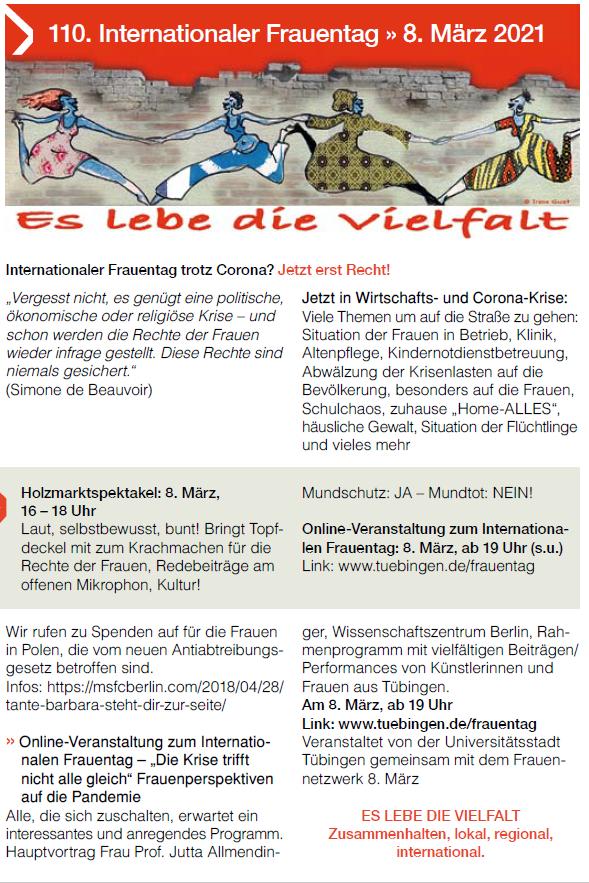 Internationaler Frauentag 8. März: Das Frauennetzwerk Tübingen lädt zum Holzmarktspektakel